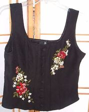Women's Forever 21 Black Boho Hippie Floral Embroidered Corset Top Large