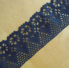 "2.25""' Wide Lovely Floral Cotton Crochet Lace Trims Dark Blue m0102"