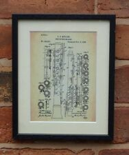 USA Patent Drawing vintage OBOE ENGLISH HORN music note MOUNTED PRINT 1888 Xmas