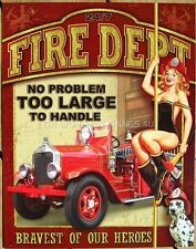 Fire Dept Vintage Truck Pinup Girl TIN SIGN funny metal poster wall decor 1720