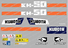 KUBOTA KH50 MINI DIGGER COMPLETE DECAL SET WITH SAFETY WARNING SIGNS