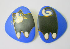 Vtg Cat Triangle Earrings Black White Feline Gold Tone Trim 2 Pieces Front Back
