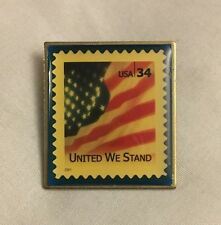 "2002 COLLECTIBLE USPS 34 CENT POSTAGE STAMP ""UNITED WE STAND"" PIN PATRIOTIC FLAG"
