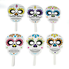 6 Halloween sugar skull DAY OF THE DEAD masks on stick Party Favor Dia Muertos