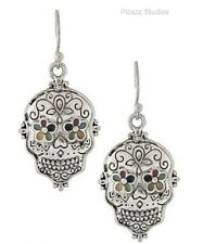 Silver SUGAR SKULL Mexican Day Of The Dead Dangle Pierced Earrings 2-2