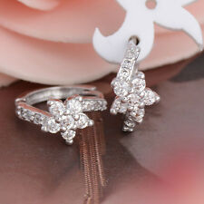 1Pair elegant Sterling Silver Cubic Zirconia Flower Hoop Earrings Jewelry