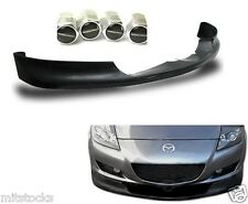 04-08 MAZDA RX8 SPORT PU BLACK ADD-ON FRONT BUMPER LIP SPOILER CHIN + FREE CAPS