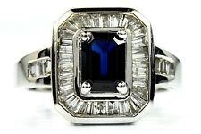 Women's 2 ct Dark Blue Sapphire & Diamond G/SI2-I1 GIA Spec 14k Solid Gold Ring
