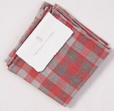 NWT $155 BRUNELLO CUCINELLI Coral-Gray Check Linen Pocket Square Gift Package