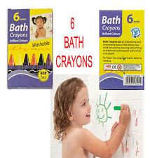 Lot de 6 crayons jumbo bain bébé tout-petit jouet lavable non toxique Art Enfants