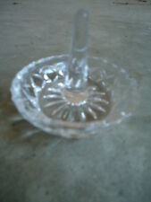 Pressed Glass Faceted Ring Holder Trinket Dish Tray 2 ¼ Inches Tall x 3 Inches D