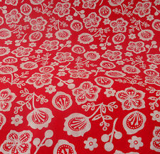 Japanese Cherry Blossom Print on Red Cotton Fabric-fat quarter