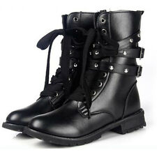 Womens Combat Army Military Worker Lace Up Flat Biker Ankle Boots Buckle Shoes