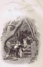 Mother & Children Learning to Ride a Horse-1862 Engraved Print Ladies Repository