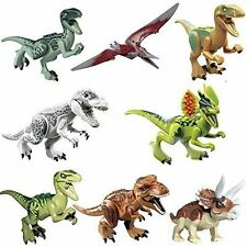 8x Jurassic World Dinosaurs Brick Blocks: Indominus Rex T-Rex Pteranodon Raptor