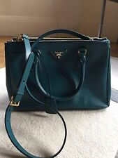Authentic PRADA Turquoise Luxury Tote Purse Shoulder Bag Handbag