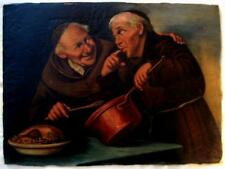 COOKING MONKS ORIGINAL OIL ON BOARD PAINTING BY LUCIUS ROSSI CIRCA 1895