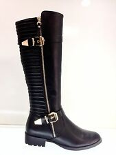 WOMEN'S LADIES BLACK BIKER LEATHER STYLE KNEE HIGH SMALL FLAT HEEL BOOTS SIZE 6