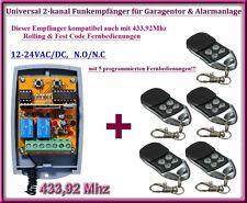 Funkempfänger SET 433,92Mhz 12-24V + 5 Fernbedienung für Garagentor, Alarmanlage