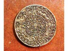 Ancient Mayan, Aztec Calendar Coin, Gold, Metal