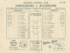 Arlequines V Richmond 28 Dic 1946 Rugby programa