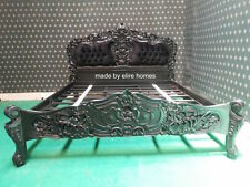 MATT BLACK Super King 6' Designer Frech Rococo Gothic style Bed with upholstery