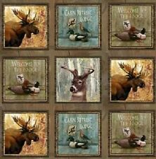 SPX Mountain Woods 23955 MUL1 Squares Moose PANEL 24'' Cotton Fabric