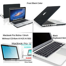 Matte Black Shell Snap-on Case+Keyboard Skin+Film for Macbook Pro Retina 13-inch