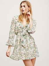 NEW Free People Ruffle Me Up Mini Dress XS Extra Small Gardenia Floral