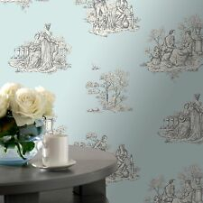 Amour Traditional Silver and Duck Egg Toile Wallpaper 204223