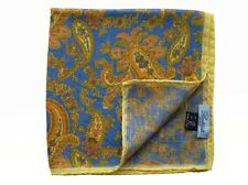 Battisti Pocket Square Cornflower blue paisley with yellow border, wool/silk