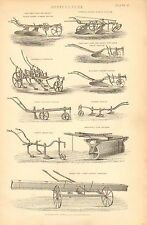 1874 PRINT ~ AGRICULTURE COLEMAN'S CULTIVATOR FURROW PLOUGH HORSE HOE SOWING etc