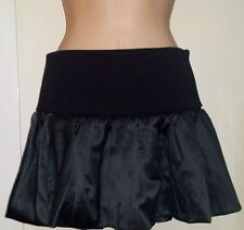 TOPSHOP BLACK SATIN FLARED MINI SKIRT - HEAVYWEIGHT FOLD DOWN WELT WAISTBAND 10