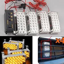 4x 22 LED + Controller Front Grille Emergency Hazard Strobe Warning Flash Light