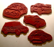 Classic VW RUBBER STAMP SET 5 UM 1960's Bug & Convertible Thing EOS, New Beetle