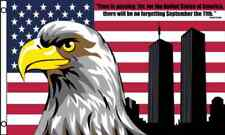 """""""NO FORGETTING 9/11"""" 3x5 ft flag polyester US united state USA NY heros 2011"""