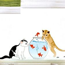 CAT PESCI ACQUARIO room Wall art Adesivi In Vinile Decalcomania HOME Decorazione HOME DECOR