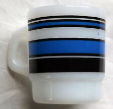Anchor Hocking Fire King Blue Black Stripes Stackable Coffee Mug VTG Collectible