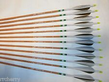 12 Carbon Express Heritage 250 Traditional Recurve Archery Arrows w/ Feathers