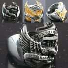 """New Men's Stainless Steel Eagle Hawk """"Live To Ride"""" Biker Motorcycle Finger Ring"""