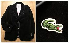 LACOSTE Velour Blazer Classy Fitted Jacket Black Womens Size 44 FREE SHIP