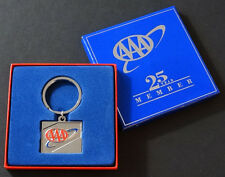 AAA Auto Club 25-Year Member KEYCHAIN KEY HOLDER Enamel Metal Ring / UNUSED