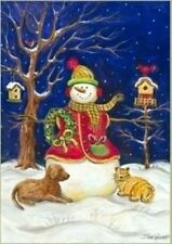 "Snowman & Pets Winter Garden Flag Seasonal Yard Banner 12"" x 18"""