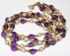 Vintage MIRIAM HASKELL Baroque Pearl & Purple Faceted Crystal 4 Strand Necklace