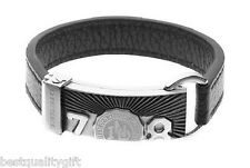 NEW-DIESEL STAINLESS STEEL+ION PLATED+BLACK LEATHER CUFF DX0198+TAG
