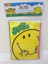 MR MEN LITTLE MISS CHILDRENS BOOK CHARACTER MR HAPPY NOTECARDS GREETING CARDS