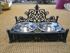 Cast iron Dog bowl holder with Stainless steel dog dishes , Posh dog bowls