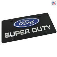 Ford Blue Oval Logo + Super Duty Name On Black Stainless Steel License Plate