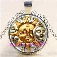 SUN AND MOON FUSION Cabochon Glass Tibet Silver Chain Pendant Necklace