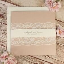 Encaje Blanco Bandeau Rústico invitaciones de boda personalizado hecho a mano muestra
